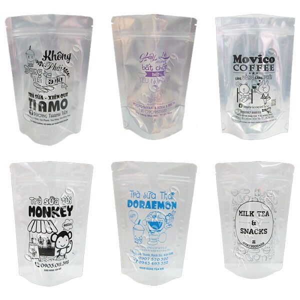Một số mẫu túi zipper đựng trà sữa trên thị trường